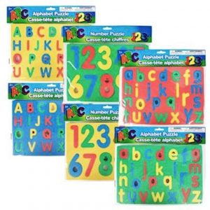 Greenbrier Alphabet and Numbers Foam Sponge Puzzles Playmats Upper Lower Case, 3-ct Set for conditioned play audiometry hearing test