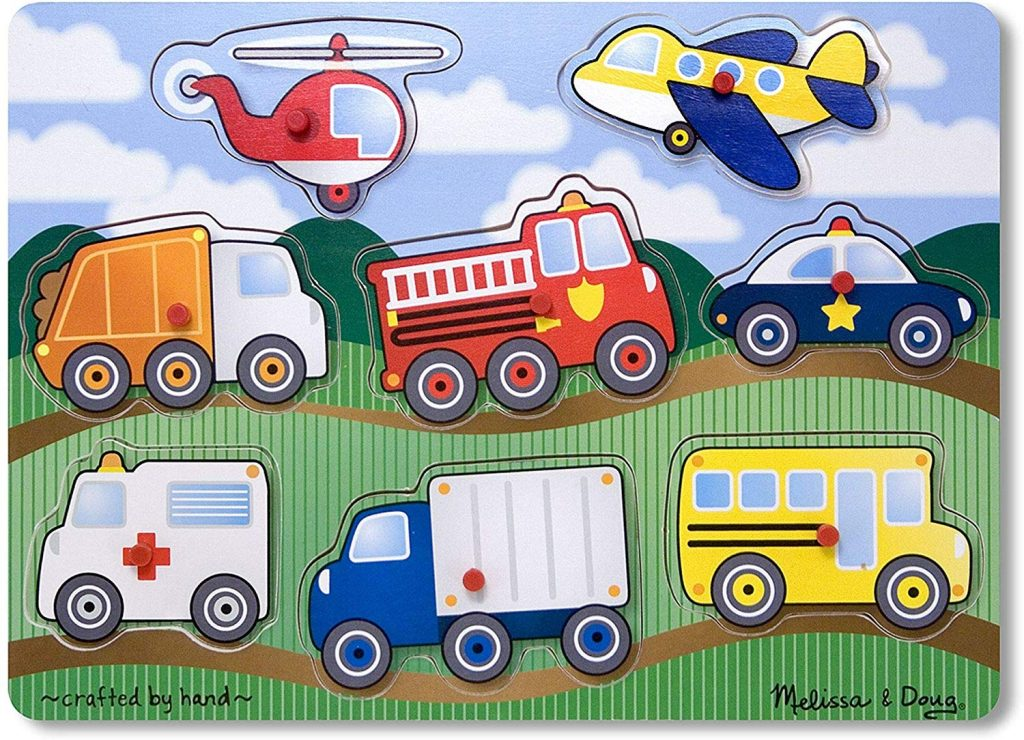Melissa & Doug Vehicles Wooden Peg Puzzle shapes puzzle for conditioned play audiometry hearing test
